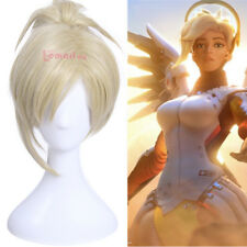 Overwatch OW Mercy Angela Cosplay Light gold Wig With Clip Ponytail USA Ship