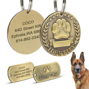 Military Personalized Dogs ID Name Tag Heavy Duty Brass Pet Discs Engraved Brown