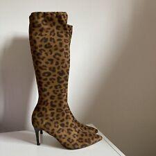 Boden la rodilla Botas altas Estampado De Leopardo Talla 41 Reino Unido 7.5 Tela Tirar