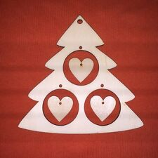 1 large CHRISTMAS TREE & hearts SHAPE PLAIN WOODEN TAG UNPAINTED HANGING CRAFT