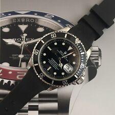HQ Generic Rolex Sub/GMT/Daytona Vulcanised UV Black Silicon Rubber Strap 20mm