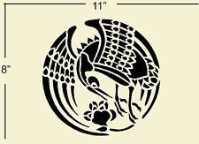 """Stencil Pattern Template classic, traditional Japanese design of a crane 8"""" x 11"""