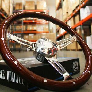 "14"" Slotted 3 Spoke Steering Wheel Dark Wood Riveted Grip, 6 Hole Chevy Ford GMC"