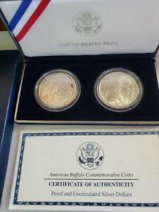 2001 AMERICAN BUFFALO COMMEMORATIVE 2-COIN SET...PROOF & UNC...(2) 1 OZ. SILVER