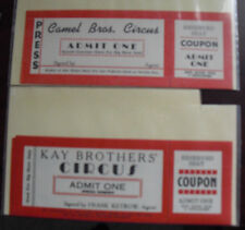 Lot of 2 Vintage 1950s Circus Tickets Unused Kay Brothers and Camel Bros