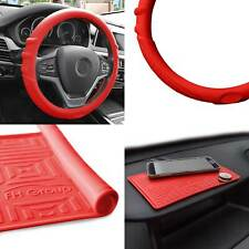 Silicone Steering wheel cover Grip Marks w/ Red Dash Mat Red for Car