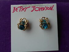 Betsey Johnson Authentic NWT Gold-Tone Spider Lux Stud Earrings