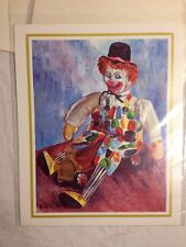 """VINTAGE CLOWN OIL PAINTING BY MICHELE EMMIT KELLY 10"""" X 8"""" REPRO"""