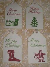 Primitive 12 Holiday Hang Tags Santa Sleigh Tree Sock