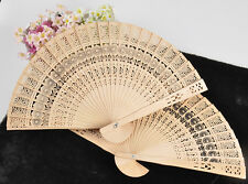 Folding Vintage Bamboo Original Wooden Carved Hand Fan fit Wedding Bridal Party