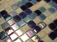 Glasmosaik Fliesen Mosaik PERLMUTTEFFEKT blau weiss Perlmutt Bad Pool   2,14 qm