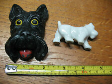 Chalkware Porcelain Scotties (2) Wall Decor And Miniature Too Cute !