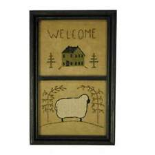 "FRAMED STITCHERY EMBROIDERY CROSS STITCH HOUSE SHEEP WILLOW TREE 8 3/8""x 13 3/8"""