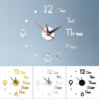 DIY Large Wall Clock Big Watch Decal 3D Stickers Roman Numerals Modern Home