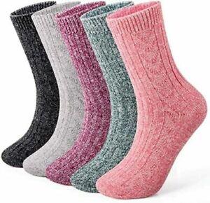 Ladies Thick Wool Blend Thermal Boot Socks Walking Hiking Ski Winter Size UK 4-7
