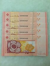 (JC) 5 pcs RM10 12th Series Signed Zeti Replacement Note ZD 0083426 - 430  UNC