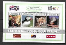 BRITISH INDIAN OCEAN STAMPS- Fauna m/sheet with 4 stamps, Stamp Show, 2000**