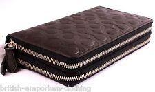 COACH DK Brown Bleecker Signature Leather Double Zip Organizer Wallet BNWT