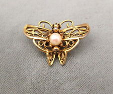 Vintage butterfly figural pin gold-tone filigree with real pearl