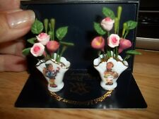 HUMMEL FLOWER VASE SET  - REUTTER PORCELAIN - GERMANY - MINIATURE DOLL HOUSE