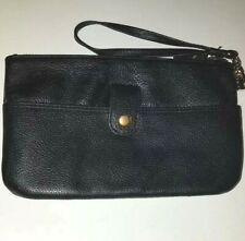 LODIS SOFT PEBBLED LEATHER BLACK ZIPPED TOP SMALL WRISTLET WALLET