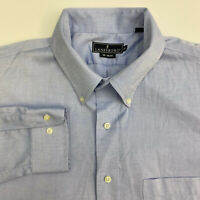 Lanesboro Button Up Shirt Mens 18 36-37 XXL Blue Long Sleeve Casual