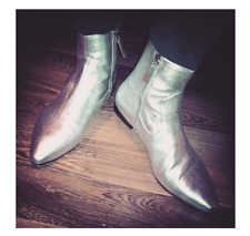 ZARA SILVER AUTHENTIC LEATHER POINTED TOE FLAT CHELSEA ANKLE BOOTS ZIP EUR 37