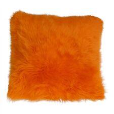 Coussin en Peau de Mouton Mérinos Long Laine Orange 40 X 40 cm + Tique Duvet