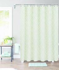 THRESHOLD Suzani Stamp Morning Frost Green Leaf Shower Curtain Nwot