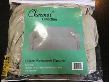 Chezmoi Collection MicroSuede Couch/Sofa Slipcover, Sand Sofa - 74 to 96""
