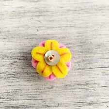Yellow Felt Button Flower 2006-08 Jibbit Charm For Clog Croc Shoes