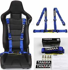 1 TANAKA UNIVERSAL BLUE 4 POINT BUCKLE RACING SEAT BELT HARNESS