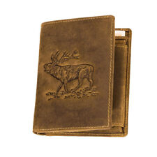 Herren Portemonnaie Geldbörse aus Antikleder Etui Geldbeutel Brieftasche Hirsch