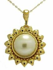 Noland Miller Sunflower Pearl Pendant with Chain Yellow Gold Plate Necklace