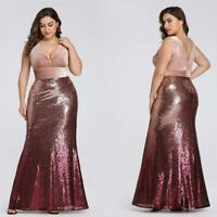 US Ever-Pretty Plus Size Sequins Evening Dress Velvet Bodycon Prom Gown 07767