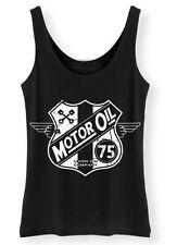 Motor Oil womens ladies biker Tank Top Vest SCREENPRINTED usa grunge retro bike