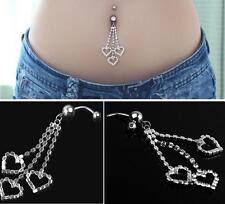 Rhinestone Heart Dangle Barbell Belly Button Navel Ring Bar Piercing Jewelry EY