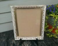 "Vtg. MCM Ornate Embossed Filigree Gold & Off White Metal Frame ID 8"" x 10"""