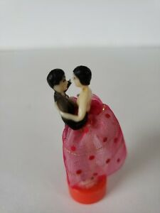 Vintage Mini Cake Topper Wedding Bride and Groom Figurine Tiny Japan Pink Red