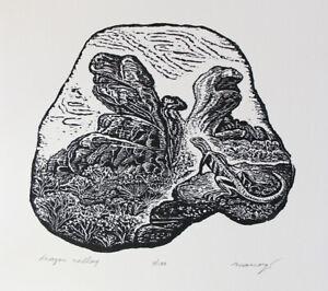 Original Wood Engraving Dragon Valley Lizards Desert Canyon Fantasy Landscape