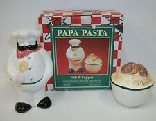 Vintage Omnibus Fitz Floyd Papa Pasta Salt Pepper Shakers in Original Box