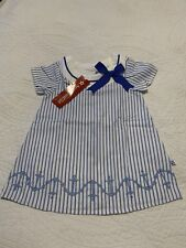 Nwt American Girl Blue and White Striped Anchor Sailor Shirt Size 4