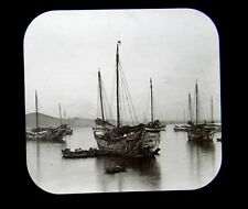 Magic Lantern Slide CHINA Tientsin Junks in Chefoo Harbor c.1902 Tianjin