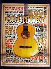 Country Guitar TIN SIGN Metal Quote Poster Music Western Bar Wall Decor 30x40 Cm