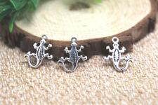 30pcs Gecko Lizard Charms Silver Tone Gecko Lizard charm pendants 15x18mm