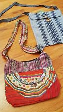 2 Handmade Fair Trade Ethnic Peruvian Huallhuas Totes Bags Grey + Multi Colored