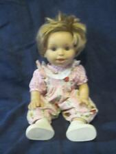 "Berenguer Real Baby Girl Doll 13"" Tall Blonde Hair Grey Eyes Romper and Shoes"