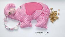 Schnullerkette mit Namen *Stern* + Kirschkernkissen *Elefant*