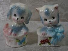 Vintage Puppy & Kitten In Basket Salt And Pepper Shaker Set Norcrest Japan