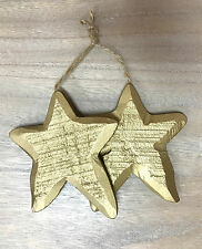 4 x Sets Christmas Gold Stars Carved Set of 2 on Twine Tree Ornaments Home Decor